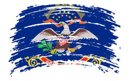 North Dakota US flag in grunge brush stroke, vector image