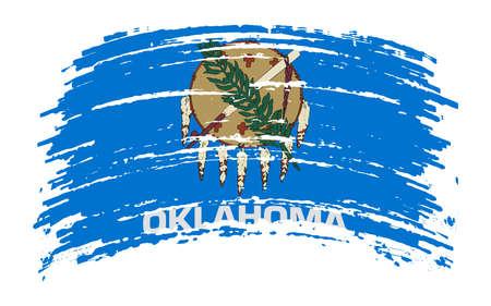 Oklahoma US flag in grunge brush stroke, vector image Vettoriali