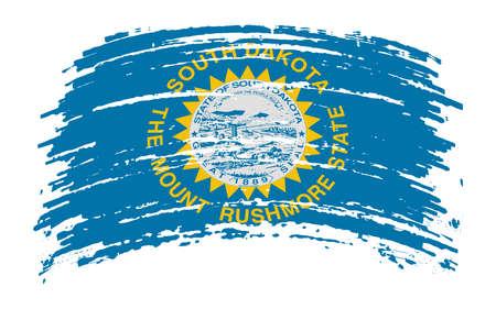 South Dakota US flag in grunge brush stroke, vector image Vettoriali