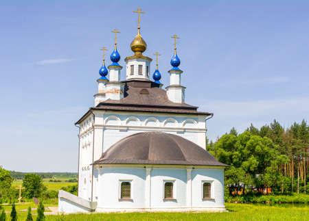 Vvedensky church on the territory of the Holy Vvedensky Makaryevsky Zhabyn Monastery, summer, front view.