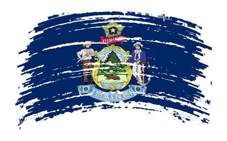Maine US flag in grunge brush stroke, vector image Vettoriali