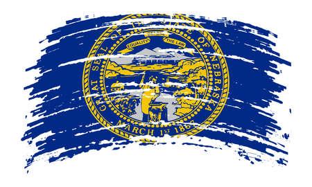 Nebraska US flag in grunge brush stroke, vector image