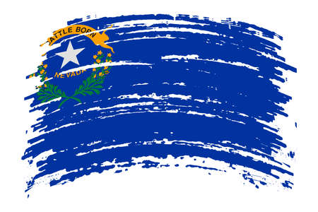 Nevada US flag in grunge brush stroke, vector image