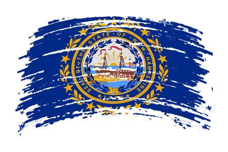 New Hampshire US flag in grunge brush stroke, vector image
