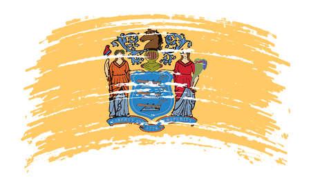 New Jersey US flag in grunge brush stroke, vector image Vettoriali