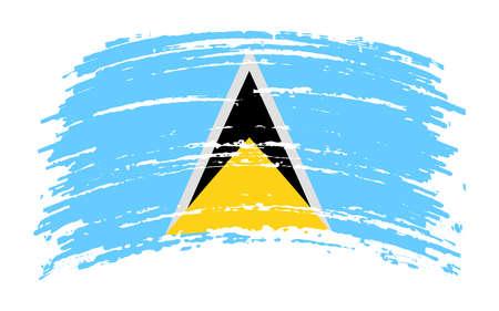 Saint Lucia flag in grunge brush stroke, vector image Ilustracja