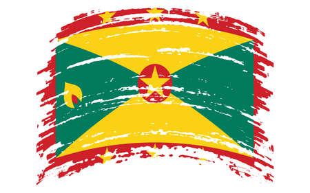 Grenada flag in grunge brush stroke, vector image
