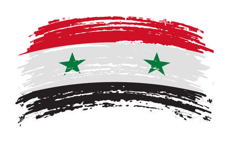 Syria flag in grunge brush stroke, image Vectores