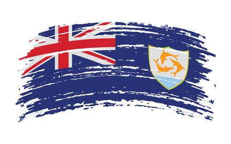 Anguilla flag in grunge brush stroke, vector image