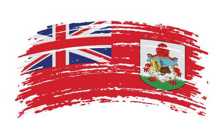 Bermuda flag in grunge brush stroke, vector image