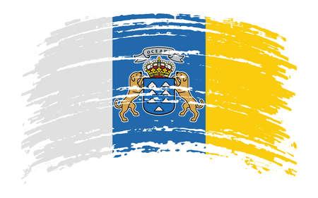 Canary Islands flag in grunge brush stroke, vector image Ilustración de vector