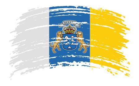Canary Islands flag in grunge brush stroke, vector image