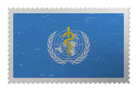 World Health Organization USA flag on old postage stamp, vector