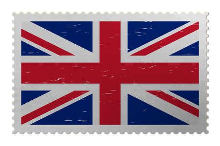 United Kingdom flag on old postage stamp, vector