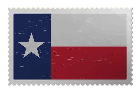 Texas USA flag on old postage stamp, vector Çizim