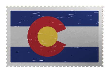 Colorado USA flag on old postage stamp, vector Çizim
