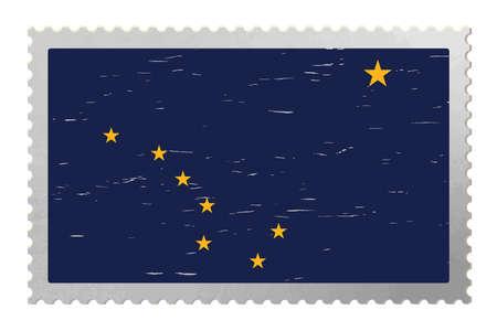 Alaska USA flag on old postage stamp, vector