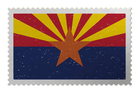 Arizona USA flag on old postage stamp, vector