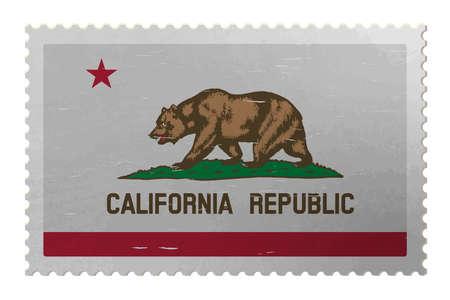 California USA flag on old postage stamp, vector