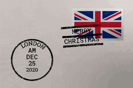 Postage envelope with United Kingdom flag on postage stamp and cancellation stamps, vector
