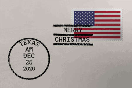 Postage envelope with American flag on postage stamp and cancellation stamps, vector Çizim