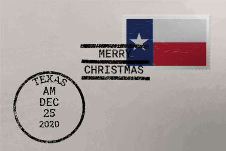 Postage envelope with Texas US flag on postage stamp and cancellation stamps, vector