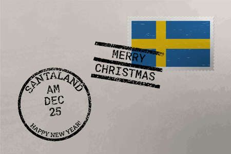 Postage stamp envelope with Sweden flag, Christmas and New Year stamps, vector Çizim
