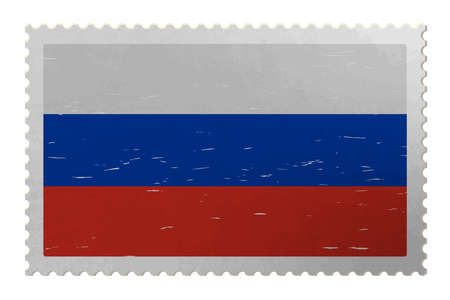 Russia flag on shabby postage stamp, vector Çizim