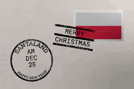 Postage stamp envelope with Poland flag, Christmas and New Year stamps