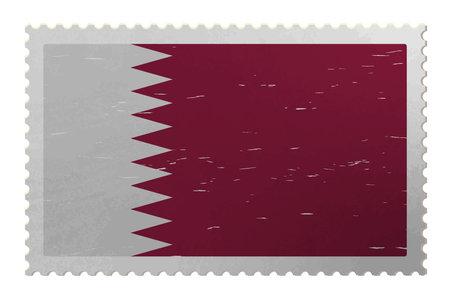 Qatar flag on shabby postage stamp, vector