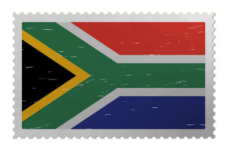 South Africa flag on shabby postage stamp, vector