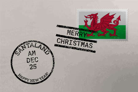 Postage stamp envelope with Wales flag, Christmas and New Year stamps, vector
