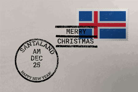Postage stamp envelope with Iceland flag, Christmas and New Year stamps