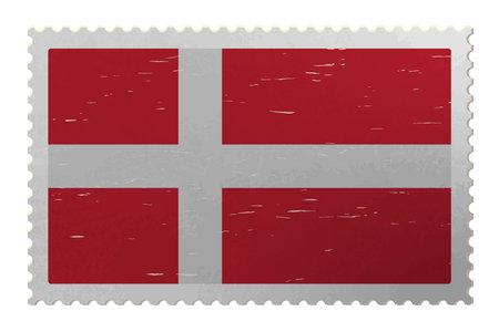 Denmark flag on shabby postage stamp