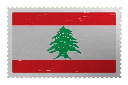 Lebanon flag on shabby postage stamp, vector Çizim