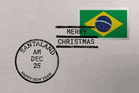 Postage stamp envelope with Brazil flag, Christmas and New Year stamps
