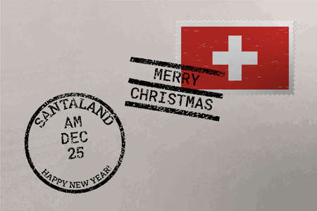 Postage stamp envelope with Switzerland flag, Christmas and New Year stamps, vector