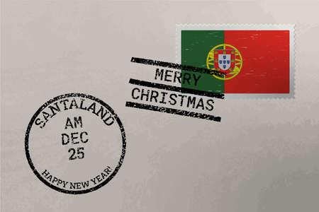 Postage stamp envelope with Portugal flag, Christmas and New Year stamps, vector Çizim