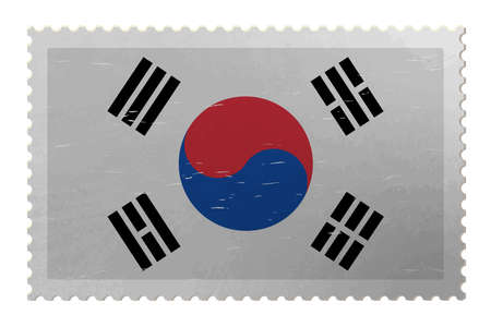 South Korea flag on shabby postage stamp, vector