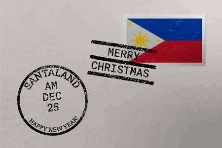 Postage stamp envelope with Philippines flag, Christmas and New Year stamps
