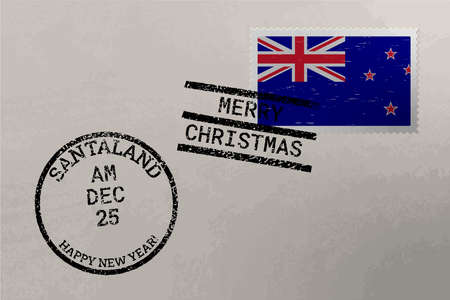 Postage stamp envelope with New Zealand flag, Christmas and New Year stamps, vector Çizim