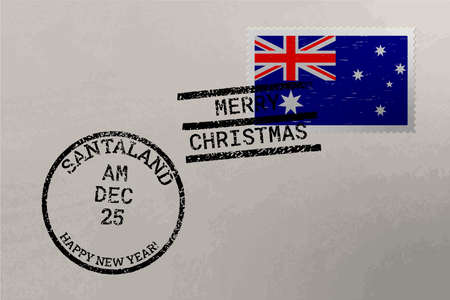 Postage stamp envelope with Australia flag, Christmas and New Year stamps, vector Çizim