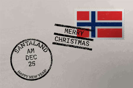Postage stamp envelope with Norway flag, Christmas and New Year stamps, vector