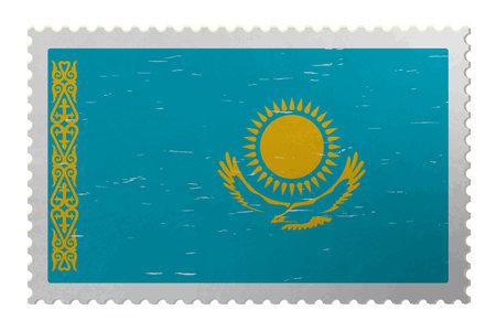 Kazakhstan flag on shabby postage stamp, vector Çizim