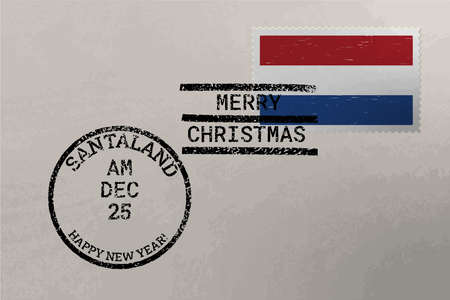 Postage stamp envelope with Netherlands flag, Christmas and New Year stamps