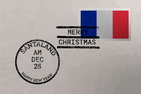 Postage stamp envelope with France flag, Christmas and New Year stamps