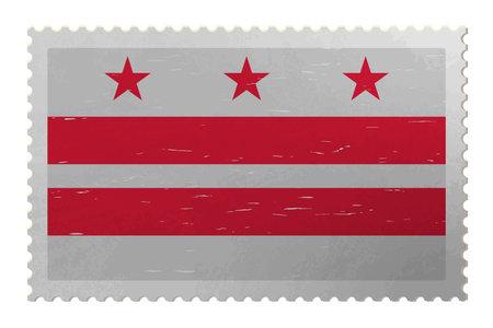 District of Columbia USA - Washington, DC flag on shabby postage stamp, vector