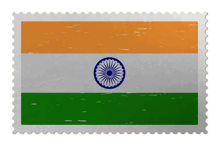 India flag on shabby postage stamp