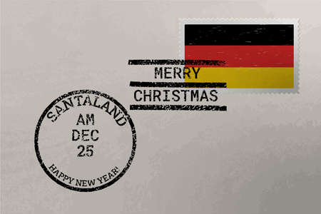Postage stamp envelope with Germany flag, Christmas and New Year stamps