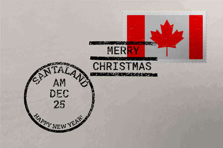 Postage stamp envelope with Canada flag, Christmas and New Year stamps